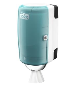 658000 Tork műanyag mini belsőmag adagolású adagoló, fehér-türkiz (M1 rendszer)